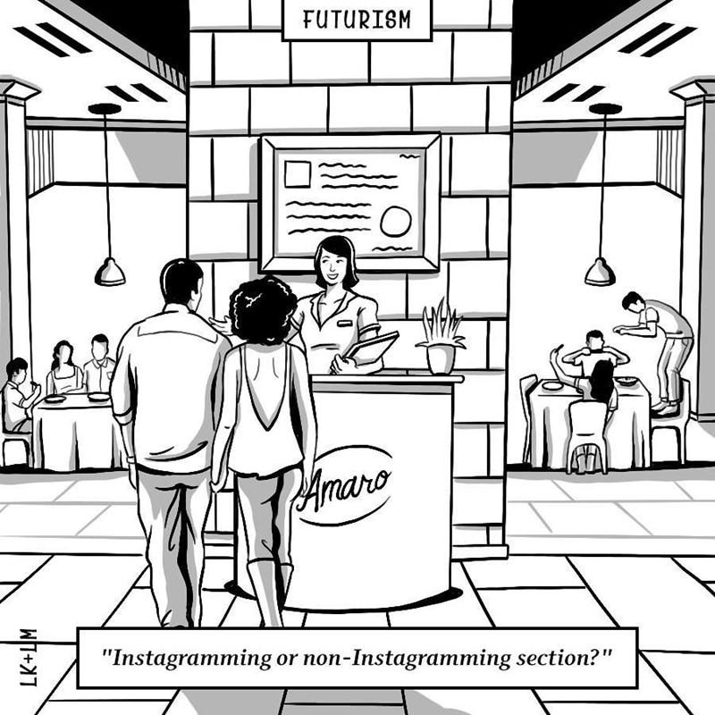 "Cartoon - FUTURISM Amaro ""Instagramming non-Instagramming section?"" or LK+LM"