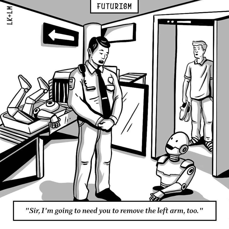 """Cartoon - FUTURISM """"Sir, I'm going to need you to remove the left arm, too."""" LK+LM"""