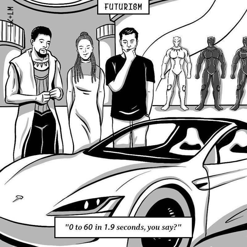 """Motor vehicle - FUTURISM """"O to 60 in 1.9 seconds, you say?"""""""
