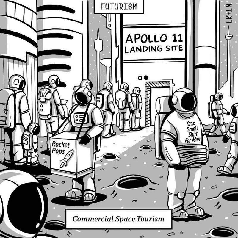 Cartoon - FUTURISM APOLLO 11 LANDING SITE One Small Shirt For Man Rocket Pops Commercial Space Tourism WT+ O O