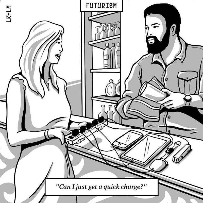 "Cartoon - FUTURISM 0 ""Can I just geta quick charge?"" LK+LM"