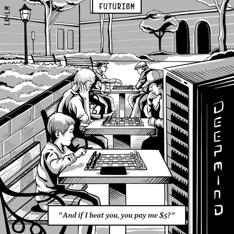 "Cartoon - FUTURISM ""And if I beat you, you pay me $5?"" Duun E -CA"