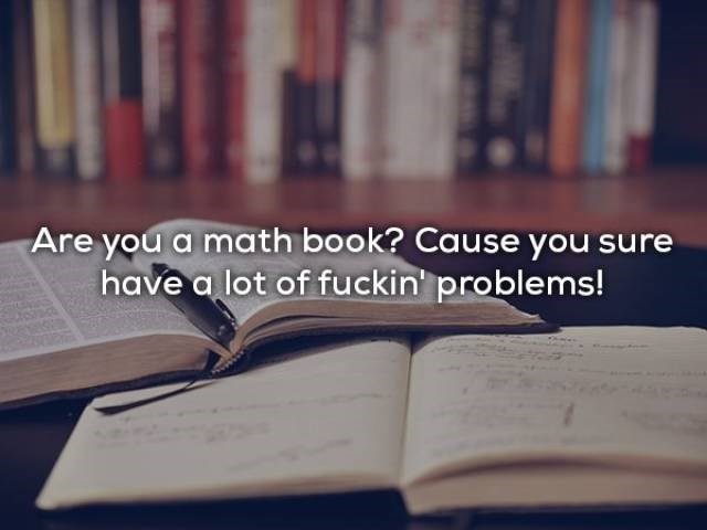 Text - Are you a math book? Cause you sure have a lot of fuckin problems!