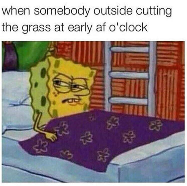 spongebob meme about hearing the grass being cut early in the morning