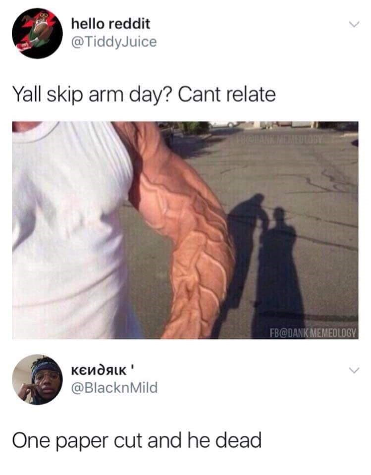 meme - Text - hello reddit @TiddyJuice Yall skip arm day? Cant relate 8@HANK MEHEDUOBY FB@DANK MEMEOLOGY кеидяк' @BlacknMild One paper cut and he dead