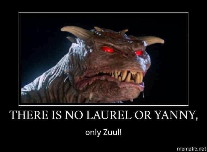 meme - Dinosaur - THERE IS NO LAUREL OR YANNY, only Zuul! mematic.net