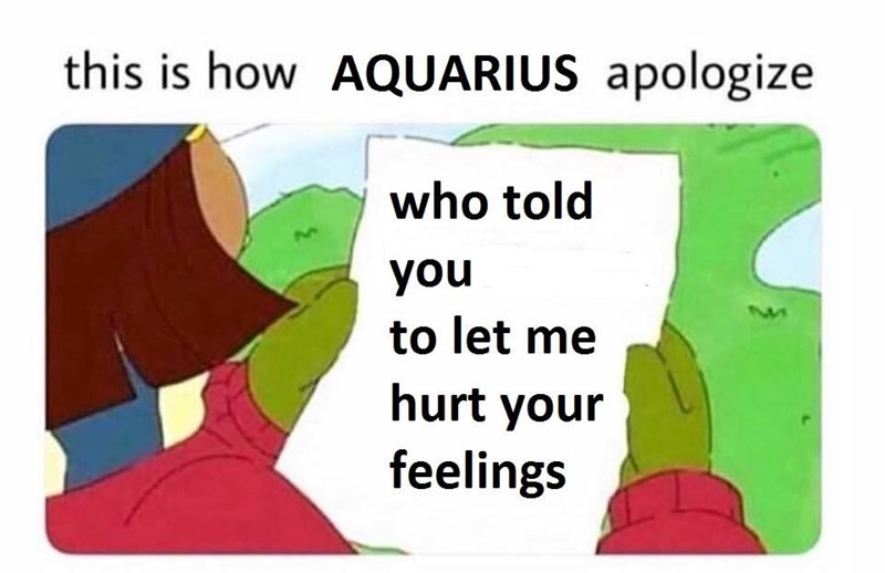 Meme of how Aquarius apologize by asking who told you to let me hurt your feelings