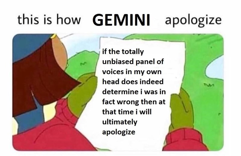 how Gemini apologizes
