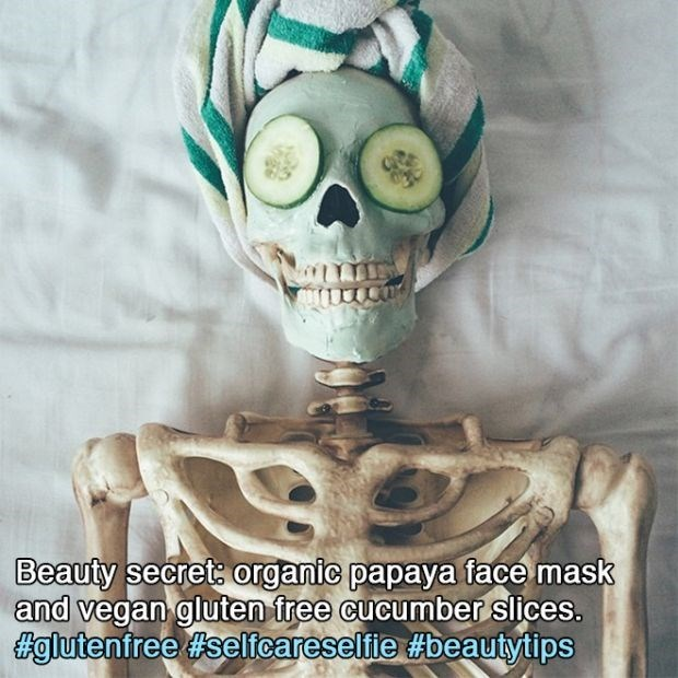 Head - Beauty secret organic papaya face mask and vegan gluten free cucumber slices. Eglutenfree #selfcareselfie #beautytips
