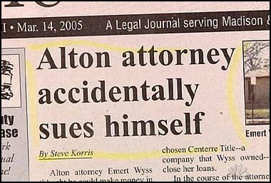 Text - I Mar. 14, 2005 A Legal Journal serving Madison & Alton attorney accidentally sues himself ty ase rke al e! Emert chosen Centerre Title--a By Steve Korris company that Wyss owned Alton attomey Emert Wyss close her loans. malke.money in In the course of the attornej