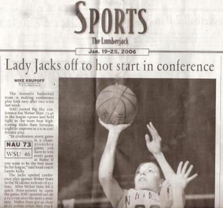 Team sport - SPORTS The Lunberjack Jan. 19-25, 2006 Lady Jacks off to hot start in conference MIKE KRUPOFF T The womeey iha am, making cmln play look ay aer wie a week NAU Sky con nce e Weber ta 4 in the a opeer and held tight the team bea high ering Mae tae Saturda fesnce play पर। In conference every gm isa ham NAU 73 onshi ayou have to w every gau a ome i wSU 46 Lasrie Kells The Jacka opened cmi e play againi Weber 5tate in the Skydome n fromt of Atier Weber sate bit a qaick sh pointer to epe