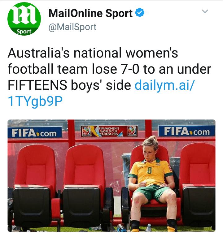 Product - PMailOnline Sport @MailSport Sport Australia's national women's football team lose 7-0 to an under FIFTEENS boys' side dailym.ai/ 1TYgb9P FIFA Com FIFA WOMEN'S WORLD CUP CANADA 2015 FIFA.Com 8