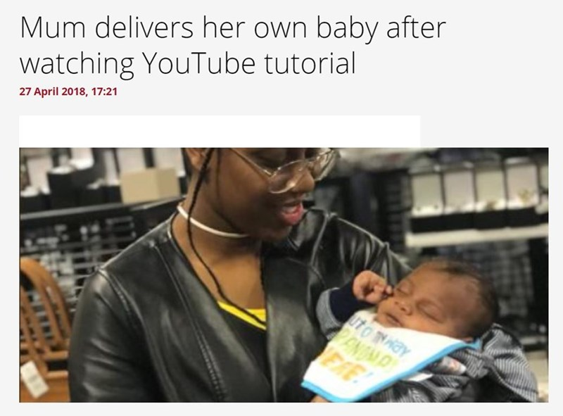 """Mum delivers her own baby after watching YouTube tutorial"""