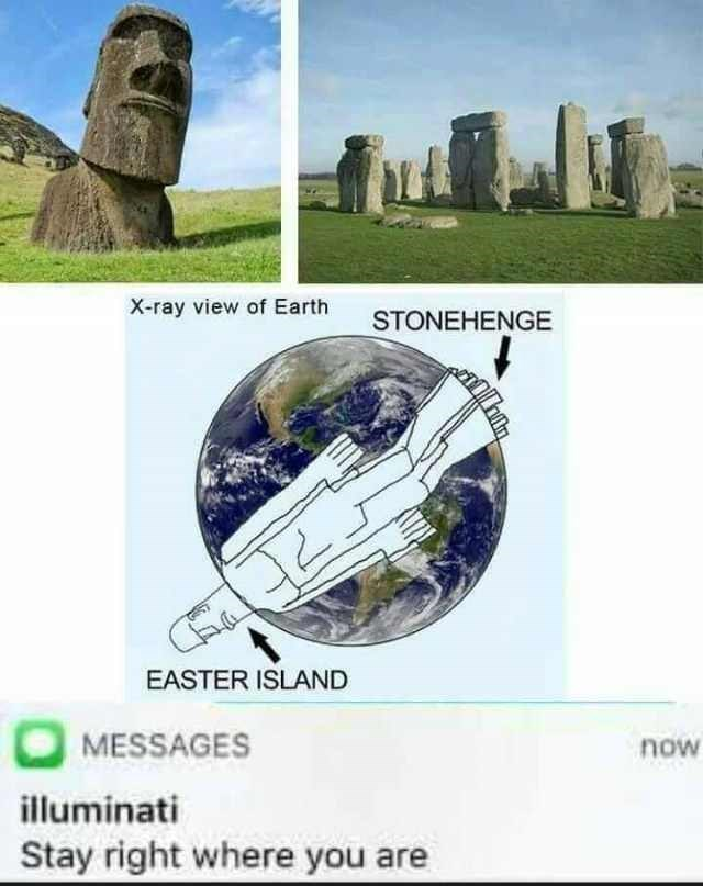 Landmark - X-ray view of Earth STONEHENGE EASTER ISLAND MESSAGES now illuminati Stay right where you are