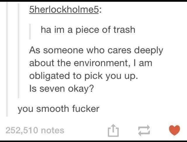Text - 5herlockholme5: ha im a piece of trash As someone who cares deeply about the environment, I am obligated to pick you up. Is seven okay? you smooth fucker 252,510 notes 1