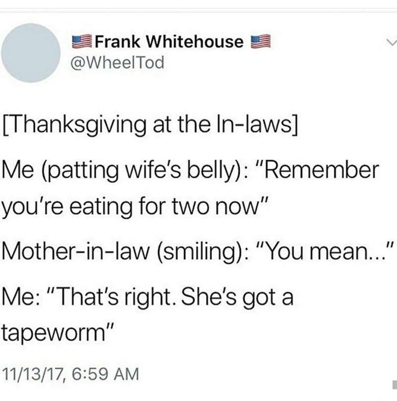 """Text - Frank Whitehouse @WheelTod [Thanksgiving at the In-laws] Me (patting wife's belly): """"Remember you're eating for two now"""" Mother-in-law (smiling): """"You mean.."""" Me: """"That's right. She's got a tapeworm"""" 11/13/17, 6:59 AM"""