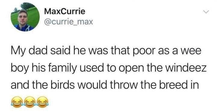 scottish tweet - Text - MaxCurrie @currie_max My dad said he was that poor as a wee boy his family used to open the windeez and the birds would throw the breed in