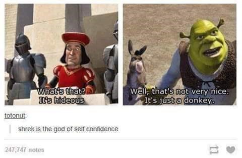 """Tumblr post featuring a still from Shrek where Lord Farquaad says, """"What's that? It's hideous"""" next to an image of Shrek next to Donkey where he says, """"Well that's not very nice, it's just a donkey;"""" someone comments below, """"Shrek is the god of self-confidence"""""""