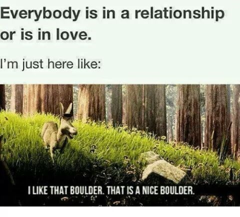 Nature - Everybody is in a relationship or is in love. I'm just here like: TLIKE THAT BOULDER. THAT IS A NICE BOULDER