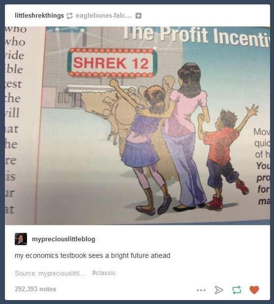 Text - littleshrekthingseaglebones falc... The Profit Incenti who who ide ble est the rill SHREK 12 at Mov quid of h You pro for ma he re is ur at mypreciouslittleblog my economics textbook sees a bright future ahead Source: mypreciouslitt. #classic 292,393 notes