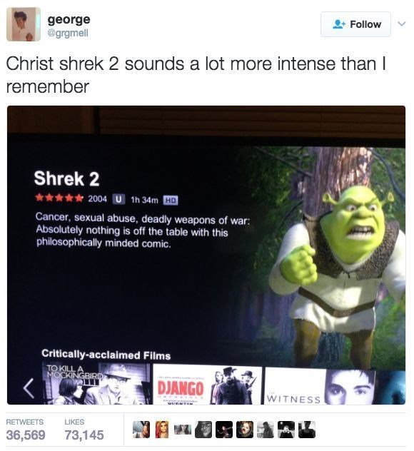 Web page - george @grgmell Follow Christ shrek 2 sounds a lot more intense than I remember Shrek 2 2004 U 1h 34m HD Cancer, sexual abuse, deadly weapons of war: Absolutely nothing is off the table with this philosophically minded comic. Critically-acclaimed Films TO KILL MOCKINGBIRD DJANGO WITNESS e RETWEETS LIKES 36,569 73,145