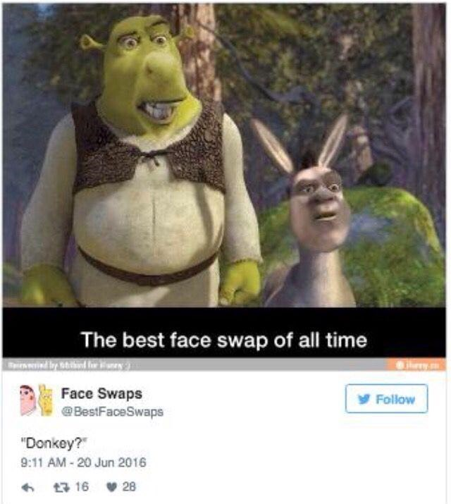 """Cartoon - The best face swap of all time Spirnwied by atidind or Face Swaps BestFaceSwaps yFollow """"Donkey? 9:11 AM-20 Jun 2016 13 16 28"""
