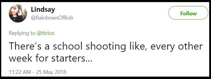 "Tweet that says, ""There's a school shooting like, every other week for starters..."""