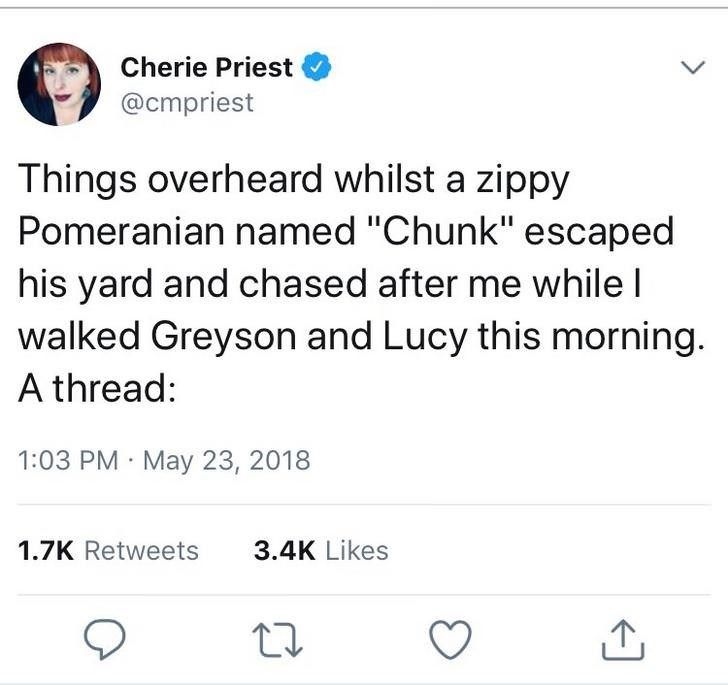"""Text - Cherie Priest @cmpriest Things overheard whilst a zippy Pomeranian named """"Chunk"""" escaped his yard and chased after me while I walked Greyson and Lucy this morning. A thread: 1:03 PM May 23, 2018 1.7K Retweets 3.4K Likes >"""