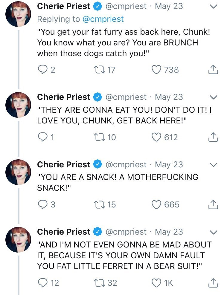 """Text - @cmpriest May 23 Cherie Priest Replying to @cmpriest """"You get your fat furry ass back here, Chunk! You know what you are? You are BRUNCH when those dogs catch you!"""" L117 738 @cmpriest May 23 Cherie Priest . """"THEY AREGONNA EAT YOU! DON'T DO IT! LOVE YOU, CHUNK, GET BACK HERE!"""" 91 612 t10 @cmpriest May 23 Cherie Priest """"YOU ARE A SNACK! A MOTHERFUCKING SNACK!"""" t15 665 @cmpriest May 23 Cherie Priest """"AND I'M NOT EVEN GONNA BE MAD ABOUT IT, BECAUSE IT'S YOUR OWN DAMN FAULT YOU FAT LITTLE FERR"""