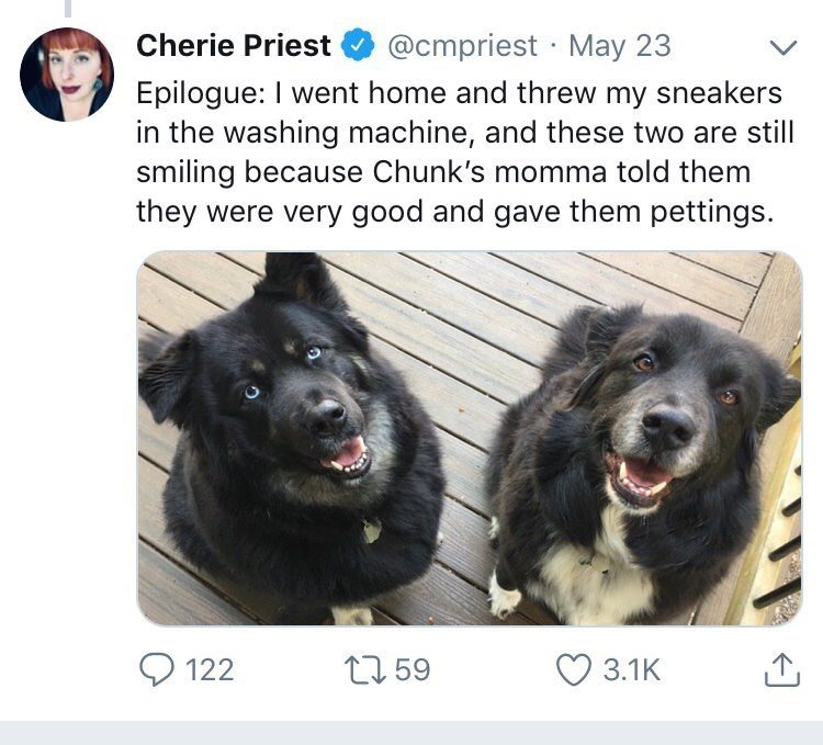 Dog - @cmpriest May 23 Cherie Priest Epilogue: I went home and threw my sneakers in the washing machine, and these two are still smiling because Chunk's momma told them they were very good and gave them pettings. ti59 122 3.1K