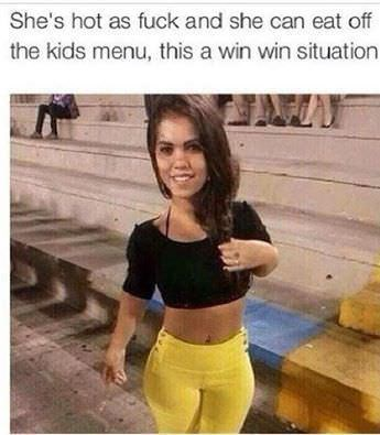 happy meme of a midget and how she can eat off the kids menu