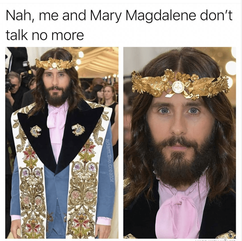 happy meme with jared leto at the met gala