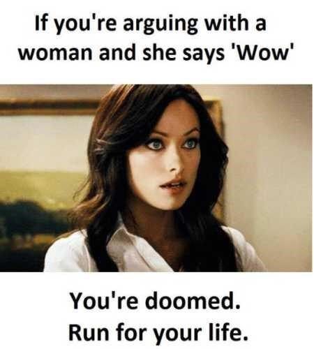 """happy meme about arguing with a woman and she says """"wow"""""""
