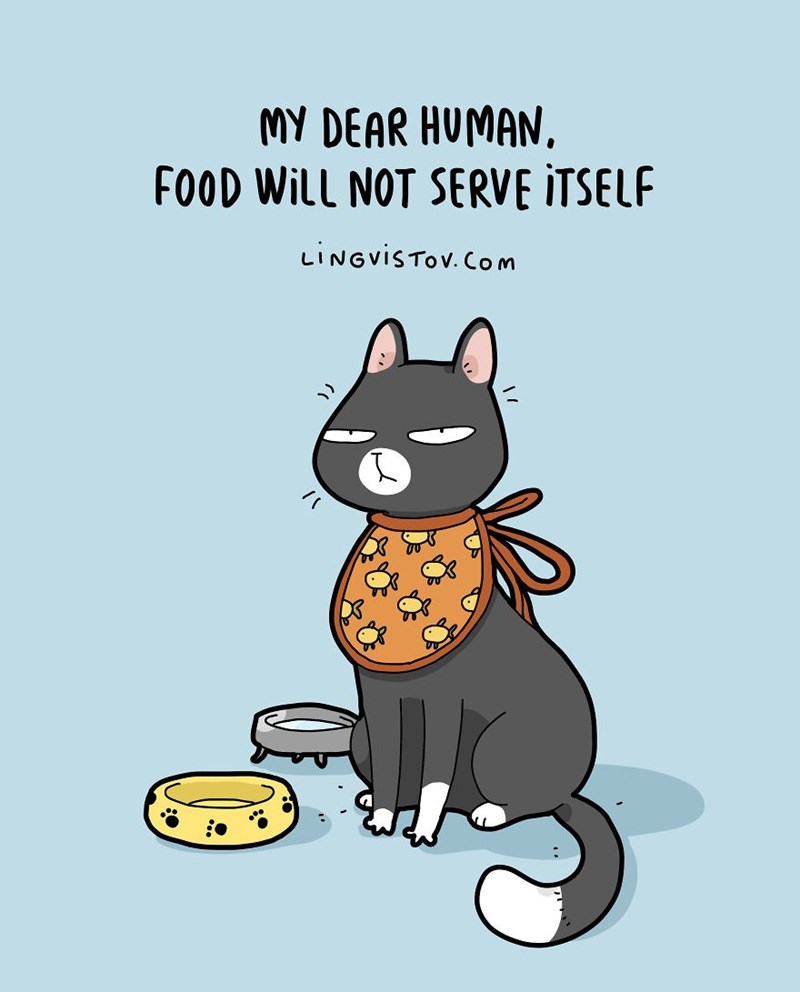 Cartoon - MY DEAR HUMAN, FOOD Will NOT SERVE ITSELF LINGVISTOV.Com