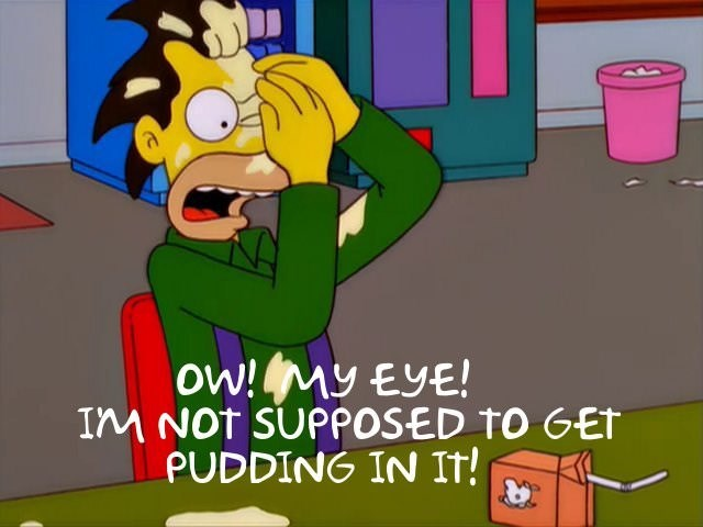 Cartoon - ow! My EyE! IM NOT SUPPOSED TO GET PUDDING IN It!