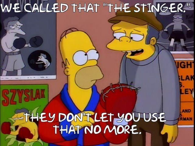 """Cartoon - WECALLED THAT """"THE STINGER. IGH LAK S. LEY SZYSLAK LAND 5 tHEY DONTLET yOU USE THAT NO MORE ERMAN"""