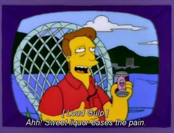 Cartoon - Loud Gulp] Ahh! Sweet liquor eases the pain.