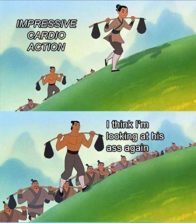Animated cartoon - MPRESSIVE CARDIO ACTION 0 think Pm looking at his ass again