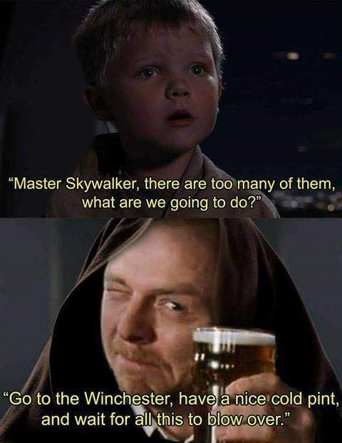 "Facial expression - ""Master Skywalker, there are too many of them, what are we going to do?"" ""Go to the Winchester, have a nice cold pint, and wait for all this to blow over."""