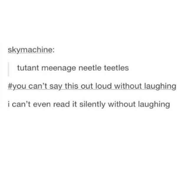 Text - skymachine: tutant meenage neetle teetles #you can't say this out loud without laughing i can't even read it silently without laughing
