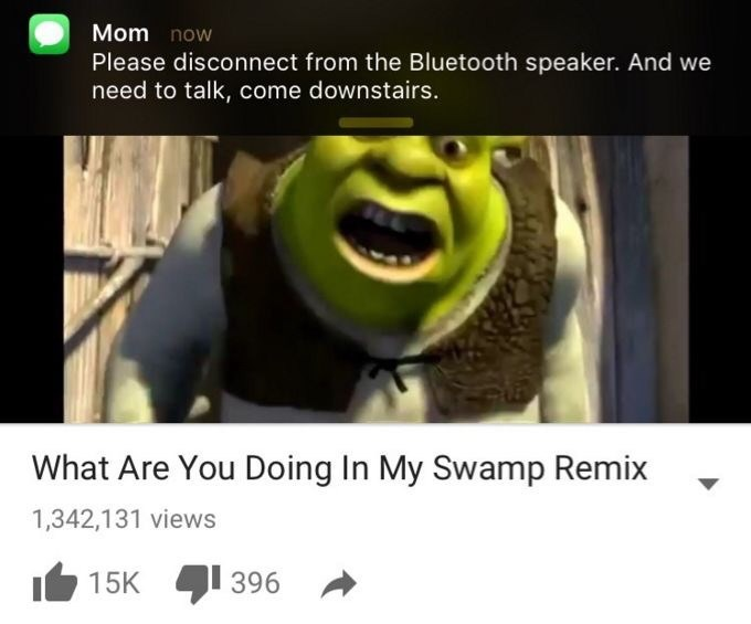 shrek meme - Cartoon - Mom now Please disconnect from the Bluetooth speaker. And we need to talk, come downstairs. What Are You Doing In My Swamp Remix 1,342,131 views 396 15K