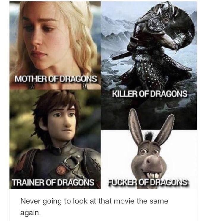 shrek meme - Fictional character - MOTHER OF DRAGONS KILLER OF DRAGONS TRAINER OF DRAGONS FUCKER OFDRAGONS Never going to look at that movie the same again.