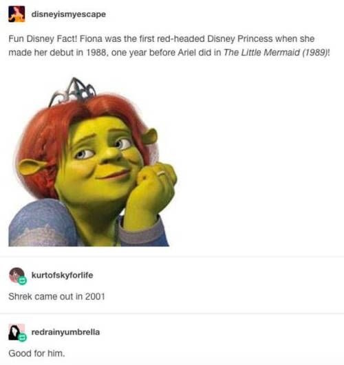 shrek meme - Text - disneyismyescape Fun Disney Fact! Fiona was the first red-headed Disney Princess when she made her debut in 1988, one year before Ariel did in The Little Mermaid (1989)! kurtofskyforlife Shrek came out in 2001 redrainyumbrella Good for him.