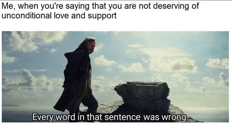 wholesome meme - Text - Me, when you're saying that you are not deserving of unconditional love and support Every word in that sentence was wrong