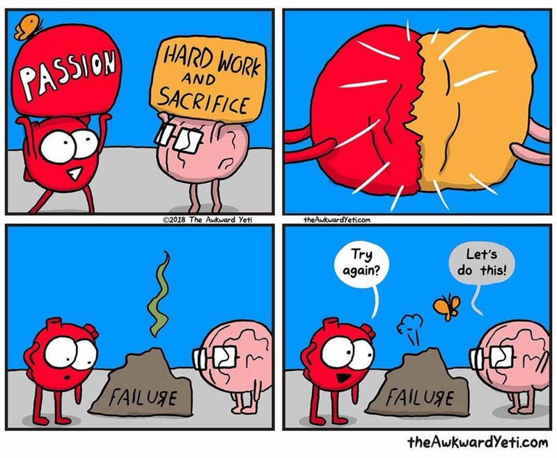 wholesome meme - Cartoon - PASSICN HARD WORK AND SACRIFICE theAwkwardYeticom 02018 The Aukward Yeti Let's Try again? do this! CHD LL4 FAILUSE FAILUSE theAwkwardYeti.com