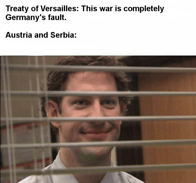 Face - Treaty of Versailles: This war is completely Germany's fault Austria and Serbia: