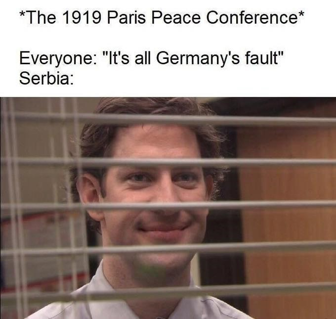 """Face - *The 1919 Paris Peace Conference* Everyone: """"It's all Germany's fault"""" Serbia:"""
