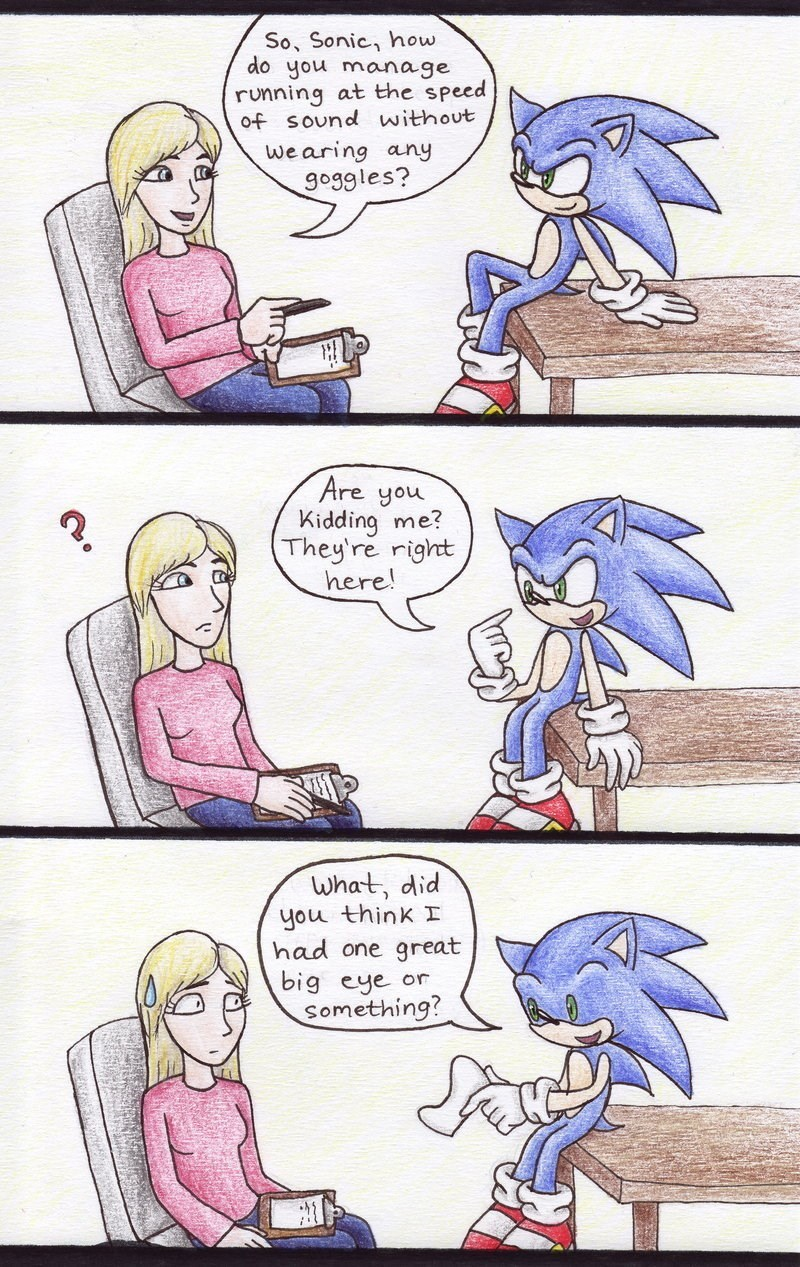 funny meme about sonic wearing goggles.