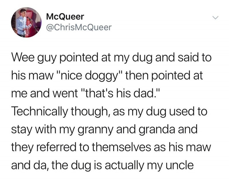 "Text - McQueer @ChrisMcQueer Wee guy pointed at my dug and said to his maw ""nice doggy"" then pointed at me and went ""that's his dad."" Technically though, as my dug used to stay with my granny and granda and they referred to themselves as his maw and da, the dug is actually my uncle"
