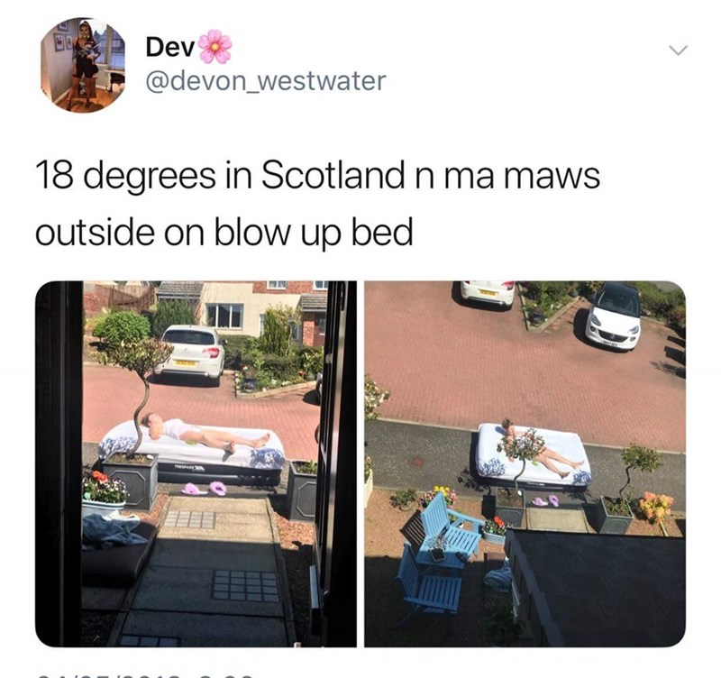 Roof - Dev @devon_westwater 18 degrees in Scotland n ma maws outside on blow up bed TSPAEN